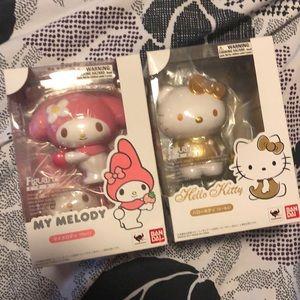 My Melody and Hellokitty Gold Bandi Figures Zero